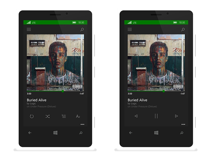 Windows Phone 10 Xbox Music